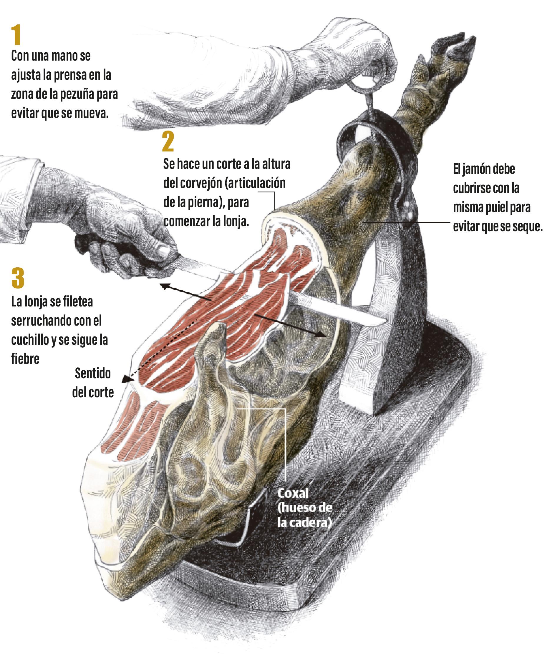 como cortar jamon ibérico